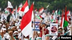 12月17日印尼首都雅加達民眾示威反對美國和川普總統將在耶路撒冷設立大使館的決定。