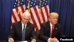 Mgombea Makamu Rais wa Republican,Mike Pence (L) na mgombea urais wa Republican, Donald Trump.