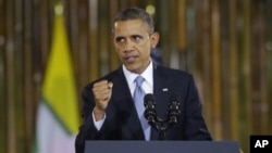 Президент США Барак Обама. Рангун, Бирма. 19 ноября 2012 г.