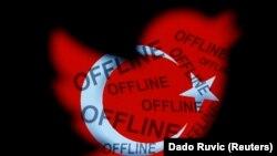 """Bendera nasional Turki dalam bentuk logo Twitter dengan kata-kata """"offline"""" terlihat dalam ilustrasi foto yang diambil di Zenica (21/3)."""