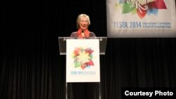 Betty Azar speaking at the 2014 TESOL conference in Portland, Oregon