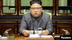 شمالی کوریا کے سربراہ کم جونگ ان امریکی صدر ڈونلڈ ٹرمپ کے جنرل اسمبلی میں خطاب کا جواب دے رہے ہیں (یہ تصویر شمالی کوریا کی سرکاری خبر رساں ایجنسی نے جاری کی ہے)