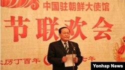 지난 24일 평양의 북한 주재 중국대사관 춘제 행사에 참석한 김영대 북한 최고인민회의 상임위원회 부위원장이 연설하고 있다.