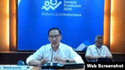 Kepala BPS Suhariyanto saat menggelar konferensi pers online, Selasa (15/9/2020). Foto: screenshot