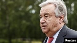 Lesecrétaire généraldel'ONU, Antonio Guterres, à Naantali, Finlande, 18 juin 2018.