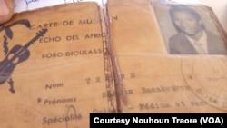 "Carte bprefessionnelle de Nouhoun Traore de l'orchestre ""Echo-Del-Africa professional ID."