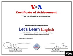 Let's Learn English Certificate of Achievement