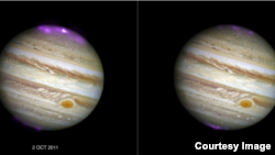 Jupiter's X-ray emission (in magenta and white, for the brightest spot, overlaid on a Hubble Space Telescope optical image) captured by Chandra as a coronal mass ejection (CME) reaches the planet on 2 October 2011, and then after the solar wind subsides.