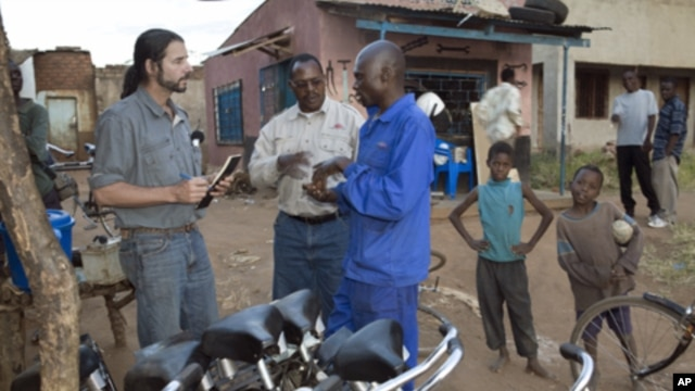 Seen here working with bike mechanics in rural Africa, F.K. Day has given away over 70,000 bikes so far in Zambia and other Sub-Saharan African countries.  