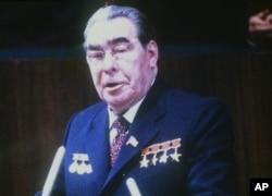 1980年,苏联最高领导人列昂尼德·伊里奇·勃列日涅夫在会议上讲话