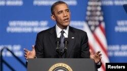 Prezident Barak Obama Xorijiy urushlar veteranlari uyushmasining 113-syezdida nutq so'zlamoqda, Rino, Nevada, 23-iyul, 2012-yil.