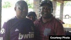 The late Willard Mashinkila Khumalo with radio personality Ezra 'Tshsa' Sibanda.