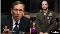 因性醜聞而辭職下台的美國CIA局長彼得雷烏斯(左)涉嫌與一名女子不當聯絡的美國駐阿富汗軍隊最高指揮官約翰艾倫(右)- (資料照片)