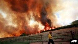 Nhân viên cứu hỏa cố gắng ngăn chặn ngọn lửa lan ra