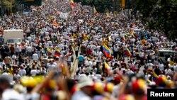 2014年2月22日委內瑞拉數以萬計的反政府抗議者走上街頭