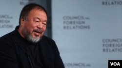中國藝術家、異議人士艾未未出席客紐約智庫外交關係委員會活動(美國之音記者章真)