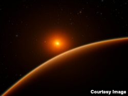 Artist's impression of the super-Earth exoplanet LHS 1140b. Credit: ESO/spaceengine.org