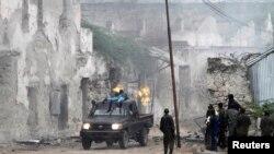 索马里首都的国家保安机构里,军人处于防御状态