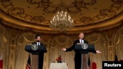سەرۆکی ئەمەریکا دانۆڵد ترامپ و سەرۆک وەزیری ژاپۆن شینزۆ ئابی