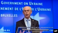 Predsednik Evropskog saveta Herman van Rompuj na konferenciji za novinare u Briselu, 6.mart 2014