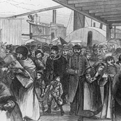 An 1880 drawing of immigrants arriving at Castle Garden, New York