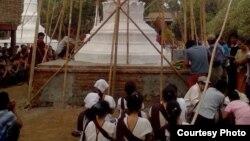 ကြမ္းေတာေက်းရြာတြင္ တည္ထားေသာေစတီ (Photo- ၿမိဳင္ႀကီးငူ ဆရာေတာ္ သာသနာျပဳလုပ္ငန္း Facebook)