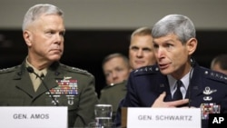 Marine Corps Commandant Gen. James Amos, left, and Air Force Chief of Staff Gen. Norton Schwartz, testify on Capitol Hill in Washington Friday, Dec. 3, 2010, before the Senate Armed Service Committee hearing on the military Don't Ask Don't Tell policy.