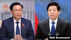 Chủ tịch Quốc hội Việt Nam Vương Đình Huệ và Ủy viên trưởng Ủy ban Thường vụ Đại hội đại biểu nhân dân toàn quốc Trung Quốc Lật Chiến Thư hội đàm trực tuyến hôm 17/6/2021.Photo VNews