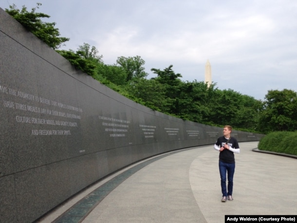 Mikah Meyer at the Martin Luther King, Jr. Memorial in DC, May 10, 2016.