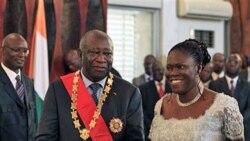 لورن گباگبو رییس جمهوری کنونی ساحل به همراه همسرش