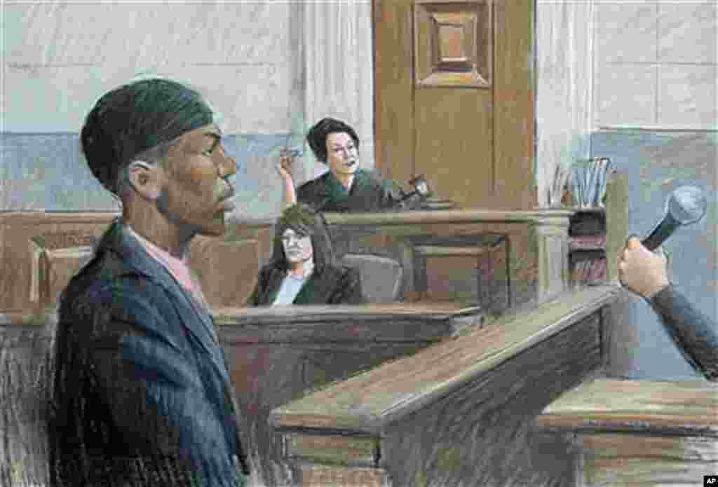 In this courtroom drawing, Umar Farouk Abdulmutallab appears in U.S. District Judge Nancy Edmunds' courtroom in Detroit, October 4, 2011.