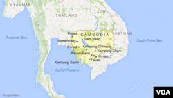 Peta wilayah Kamboja, dengan beberapa kota terkenal di kawasan tersebut, termasuk Phnom Penh, Siem Reap, Kampong Cham dan Kampong Saom.