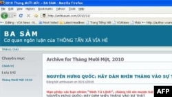 Trang blog anhbasam không còn một nội dung nào khác ngoài một bài viết chỉ trích một cây bút bất đồng chính kiến nổi tiếng hiện đang sống ở nước ngoài