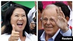Keiko Fujimori (agoch) ak rival li Pedro Pablo Kuczynski, pandan yo tap rive nan 2 biwo de vòt pou yo vote nan kòmansman jounen dimanch 10 avril 2016 la.