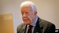 Mantan Presiden AS Jimmy Carter dalam wawancara video dengan kantor berita Associated Press di London (2/2).