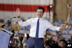 FILE - South Bend Mayor Pete Buttigieg announces that he will seek the Democratic presidential nomination during a rally in South Bend, Ind., April 14, 2019.