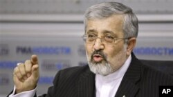 Iran's ambassador to the U.N.'s IAEA, Ali Asghar Soltanieh, speaks at a news conference in Moscow, Russia, January 20, 2011