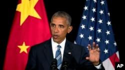 Tổng thống Mỹ Barack Obama phát biểu tại một cuộc họp báo sau khi kết thúc Hội nghị thượng đỉnh G20 ở Hàng Châu, Trung Quốc, 5/9/2016.