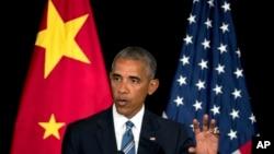 바락 오바마 미국 대통령이 5일 중국 항저우에서 열린 G20, 주요 20개국 정상회의 폐막 기자회견에서 발언하고 있다.