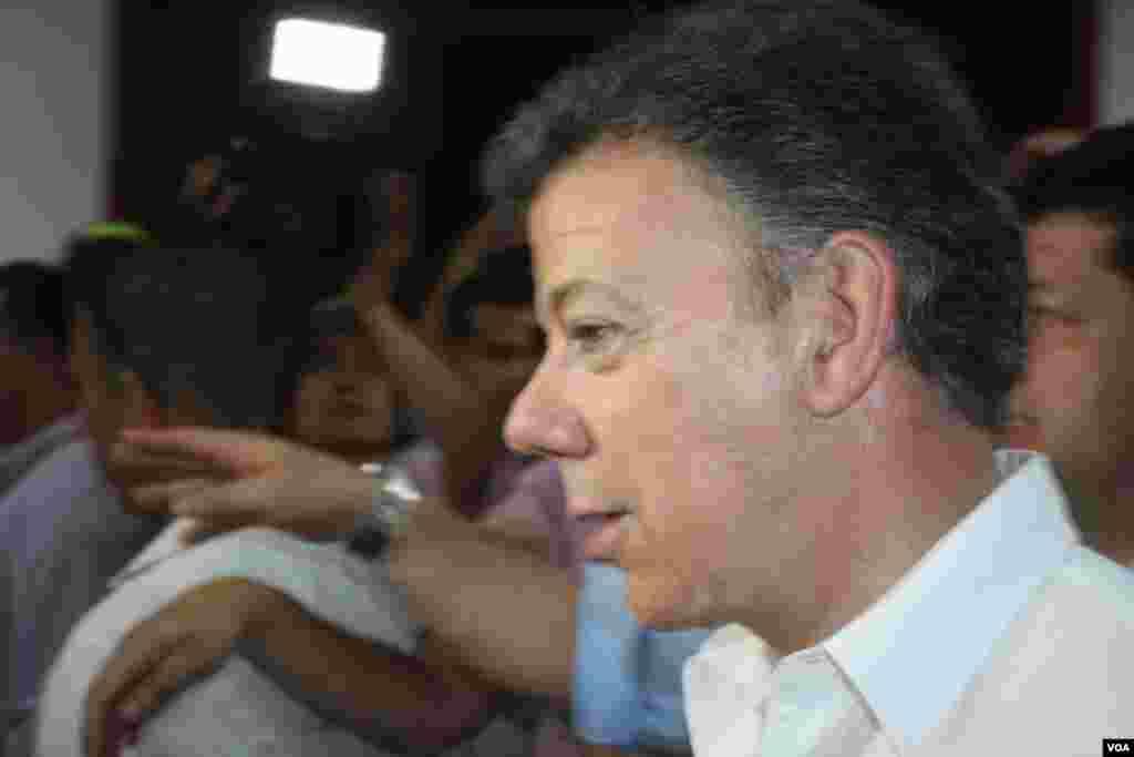 Presidente de Colombia, Juan Manuel Santos. (Iscar Blanco, VOA)