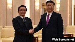习近平星期一在北京人民大会堂会见越共中央总书记阮富仲特使中央对外部部长黄平君