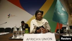 FILE - Nkosazana Dlamini-Zuma, chairperson of the African Union Commission, attends the Valletta Summit on Migration in Valletta, Malta, Nov. 12, 2015.