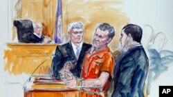Tranh vẽ Irek Hamidullin, luật sư Robert Wagner, và thông dịch viên Ihab Samra (phải), khi thẩm phán Henry Hudson lắng nghe tại Tòa án Liên bang ở Richmond, Virginia, 7/11/2014.