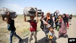 Gia đình Iraq bỏ chạy tới làng al-Sejar tại tỉnh Anbar từ thành phố Fallujah, ngày 27/5/2016.