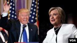 Ông Donald Trump (trái) và bà Hillary Clinton (phải) phát biểu trước những người ủng hộ vào ngày Siêu thứ Ba, 1 tháng 3 năm 2016.