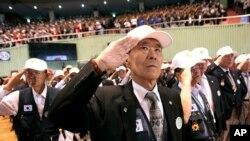 한국 서울에서 열린 6.25 한국전쟁 발발 64주년 기념식에 한국군과 연합군 참전용사들이 참석했다.