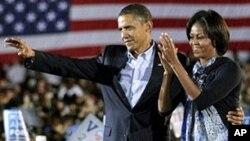 지원유세를 벌이는 오바마 대통령과 미쉘 오바마