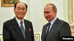 2018年6月14日,俄罗斯总统普京会晤朝鲜最高人民会议常任委员会委员长金永南。