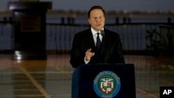 Presiden Panama Juan Carlos Varela menyampaikan pidato kenegaraan di Panama City (6/4).