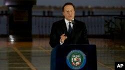 Tổng thống Panama Juan Carlos Varela đọc diễn văn trước quốc dân ở Panama City, ngày 6/4/2016.
